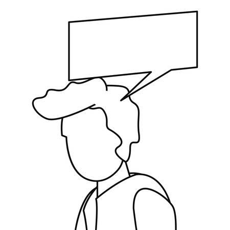 man character talk speech bubble vector illustration