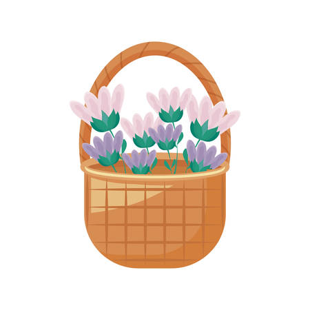 wicker basket with flowers decorated vector illustration design