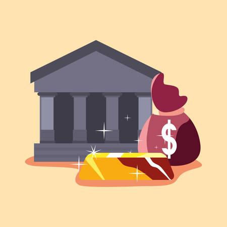bank money bag gold bar economy success vector illustration