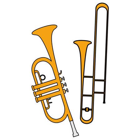 trumpets instruments musical icons vector illustration design Illustration