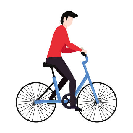 man riding bicycle on white background vector illustration