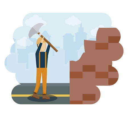 construction worker with hammer vector illustration design