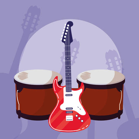 guitar electric and timbals instruments vector illustration design