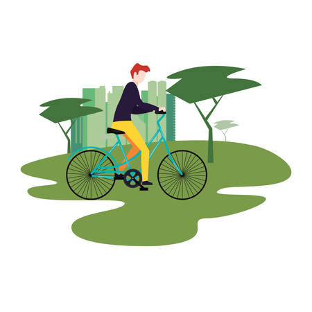 man riding bike in the park city vector illustration