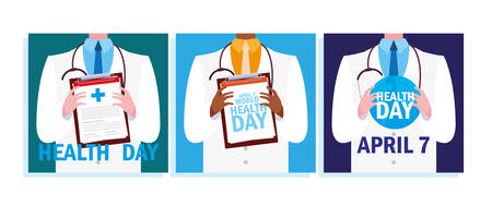 set of cards world health day with doctor vector illustration design