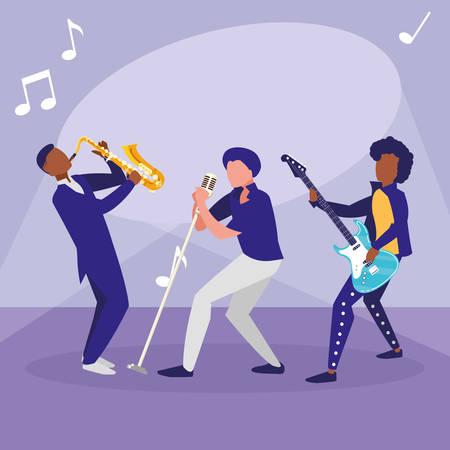 singer and musicians band characters vector illustration design Vektorové ilustrace