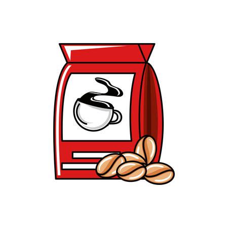 bag of coffee with grains vector illustration design Иллюстрация
