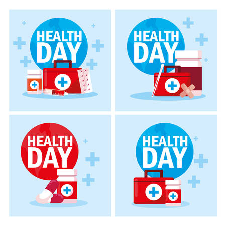 set of cards world health day vector illustration design