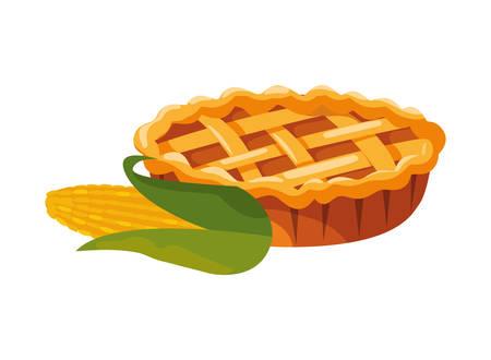 thanksgiving celebrate cob cherry pie background vector illustration Illustration