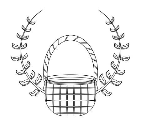 wicker basket with branches isolated icon vector illustration design
