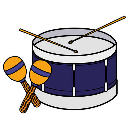 drum and maracas instruments musical vector illustration design Illusztráció