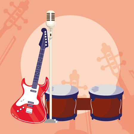guitar electric and microphone instruments vector illustration design Illustration