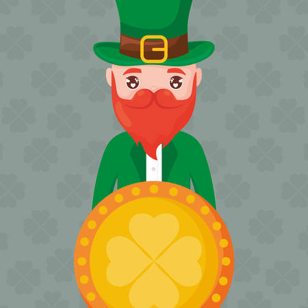 coin with clover and irish leprechaun vector illustration design