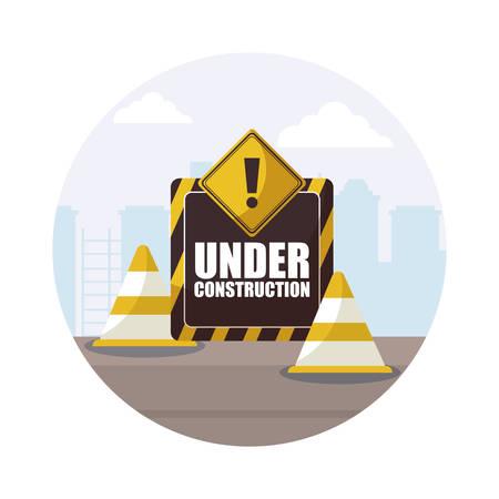 under construction label with cones vector illustration design
