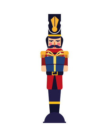 chritsmas nutcracker with gift box vector illustration