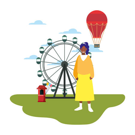 woman ferris wheel hot air balloon in the park amusement vector illustration 矢量图像