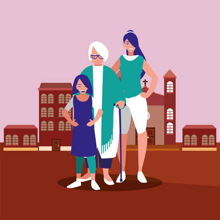 mother daughter and grandma in the city background vector illustration