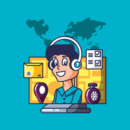 delivery service worker with computer and icons vector illustration design Illustration