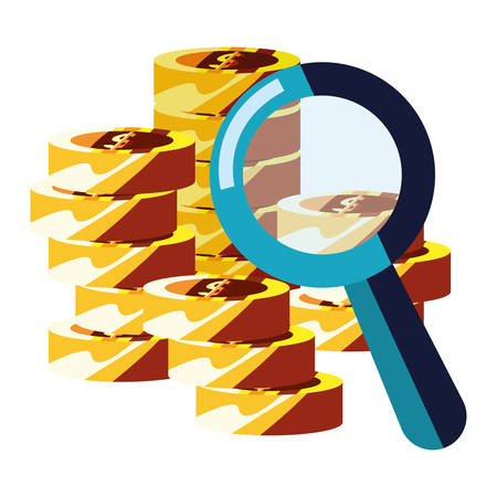 coins money stacked magnifying glass vector illustration