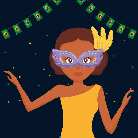 beautiful woman with carnival mask vector illustration design