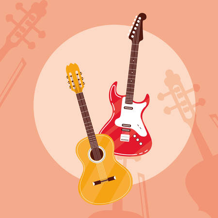 guitar electric and acoustic instruments vector illustration design Illustration