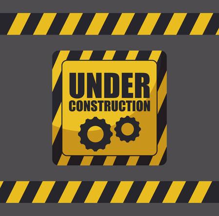 under construction label with traffic signals vector illustration design Ilustração
