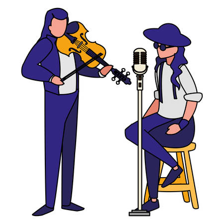 singer and musician couple characters vector illustration design 向量圖像