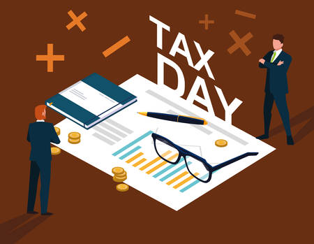 businessmen in tax day with statistic document and icons vector illustration design Illustration