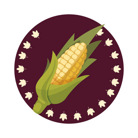 thanksgiving celebrate cob leaves sticker decoration vector illustration