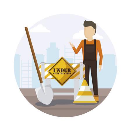 construction worker with shovel vector illustration design