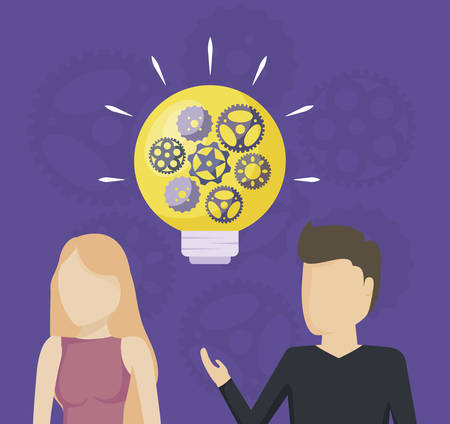 couple with light bulb and pinions vector illustration design