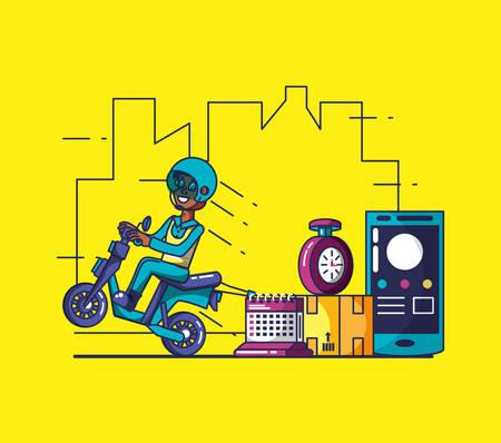 delivery service worker in motorcycle and icons vector illustration design Ilustração
