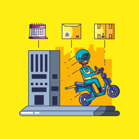 delivery service worker in motorcycle and icons vector illustration design Çizim