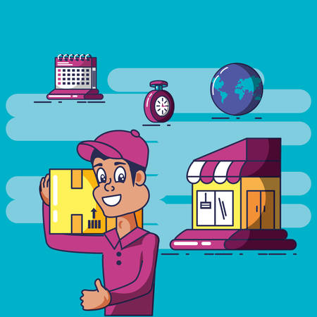 delivery service worker and icons vector illustration design
