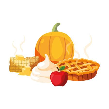 thanksgiving celebrate pumpkin apple butter dinner vector illustration Banco de Imagens - 119328023