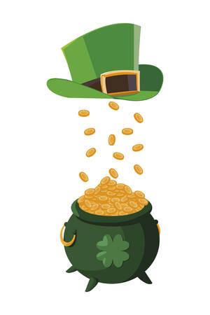 saint patrick cauldron with treasure coins and elf hat vector illustration design Illustration