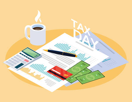 tax day with statistic document and set icons vector illustration design Standard-Bild - 119328243