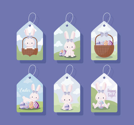 tags with cute female rabbits of easter vector illustration design