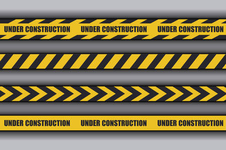 under construction label with caution tape vector illustration design