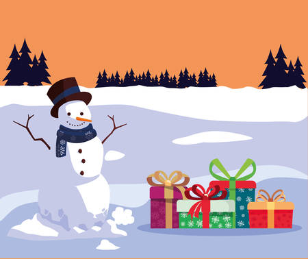 christmas snowman with gifts and winter landscape vector illustration