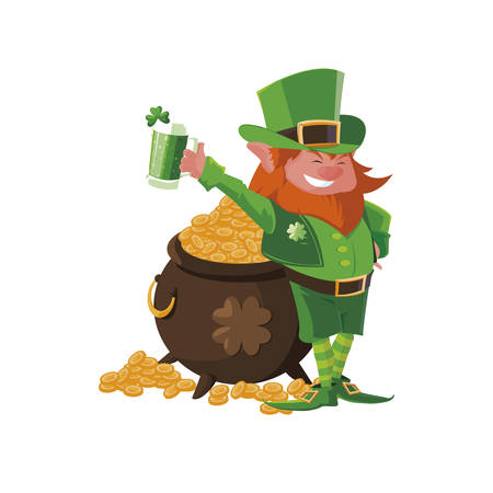 saint patrick lemprechaun with beer character vector illustration design