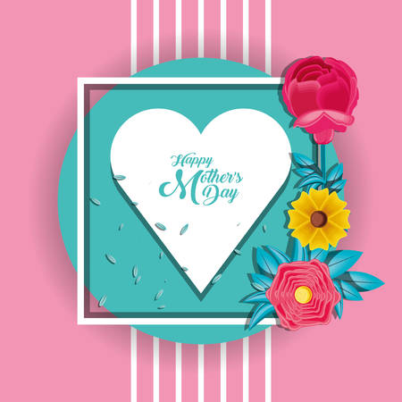 happy mother day card with flowers and heart vector illustration design Ilustração