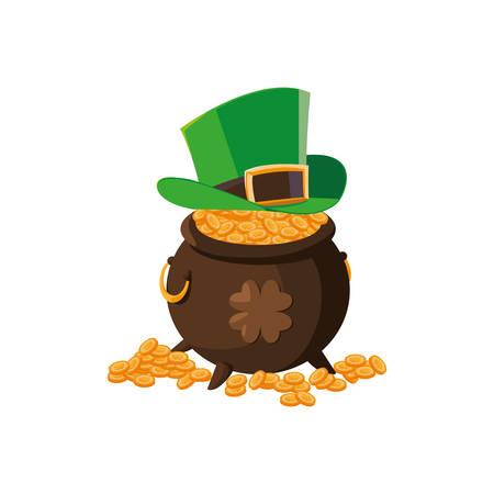 saint patrick cauldron with treasure coins and elf hat vector illustration design Ilustração