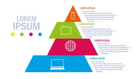 pyramid with infographic and business icons vector illustration design Illustration