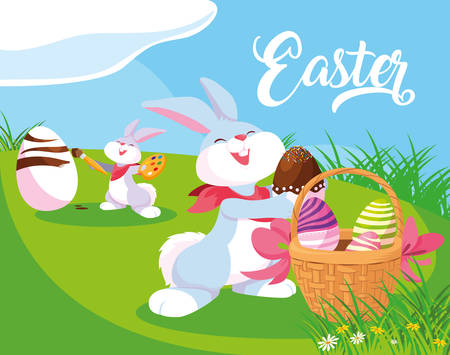 rabbits with eggs of easter with basket in garden vector illustration design