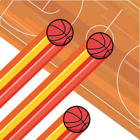 basketball sport balls court floor vector illustration