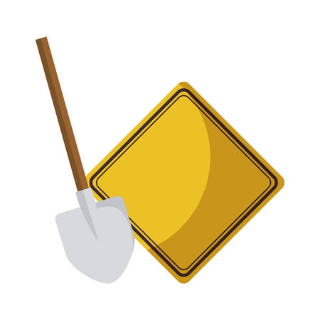 signaling with shovel isolated icon vector illustration design