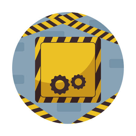 signaling with gears pinions in frame circular vector illustration design
