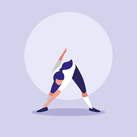 young woman performing exercise character vector illustration design 矢量图像