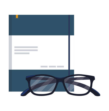 office notepad with eye glasses vector illustration design